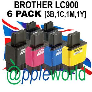 Pack-de-6-LC900-Compatible-Cartuchos-Tinta-3-x-bk-1x-C-M-amp-Y-NO-Brother-OEM