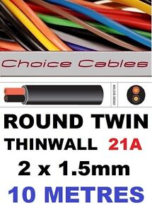 BOAT LOOM WIRE ROUND TWIN AUTO CABLE 2 CORE 1.5mm 21 AMP CAR MARINE CABLE 10m