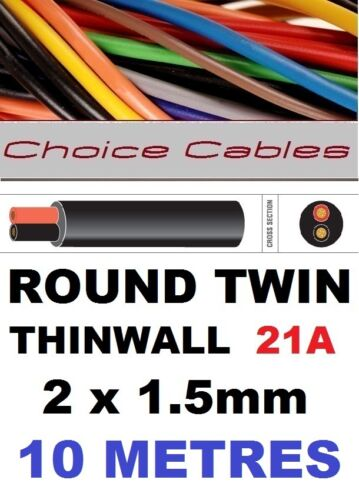 ROUND TWIN AUTO CABLE 2 CORE 1.5mm 21 AMP CAR MARINE CABLE 10m BOAT LOOM WIRE