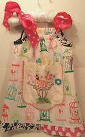 Toddler Girls 2-3 Artifaks Handmade Pillowcase Doily Dress Birdcages Pink