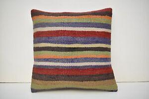 Turkish Kilim Pillow Cover 15'' x 15'' Hand Woven Tribal Wool Striped Cushion