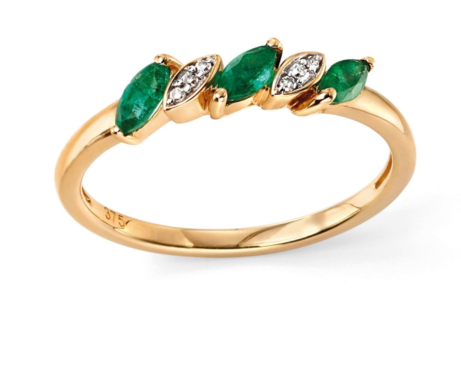 Designer - Elements gold - 9ct Yellow gold Emerald & Diamond Marquise Ring