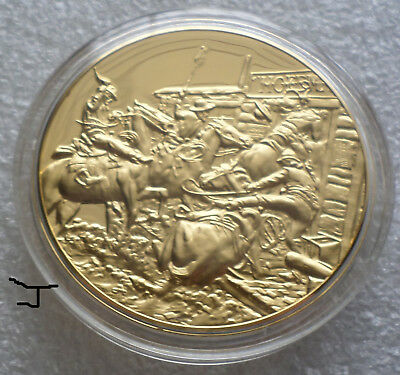 """Charles Marion Russell Cowboys /""""In Without Knocking/"""" 24K Gold Bronze Medal"""