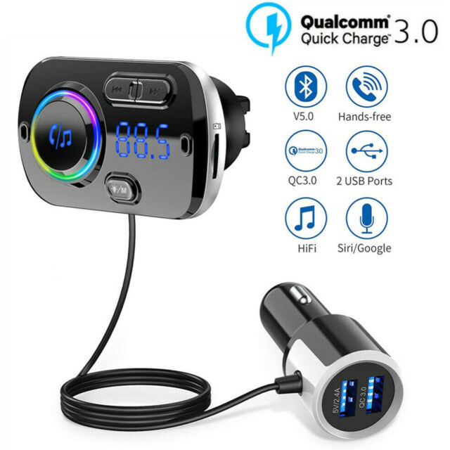Bluetooth 5.0 Handsfree Car Kits FM Transmitter MP3 Player USB Fast Charger AUX