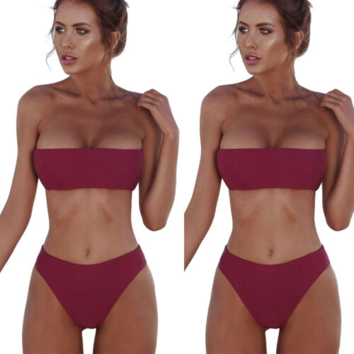 Women Bandeau Bikini Set Push-up Padded High Waist Swimwear Swimsuit Beachwear