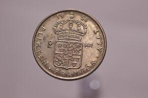 SWEDEN-2-KRONOR-1954-SILVER-NICE-DETAILS-A82-Z9799