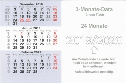 Kalenderblätter für 3 Monatskalender 2019-2020 Ersatzblätter Tischkalender