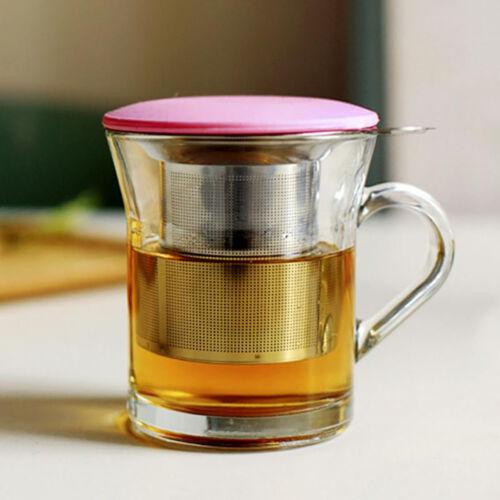Hot 304 Stainless Steel Tea Infuser Mesh Strainer Lid Drip Tray Brew-in-Mug Tea.