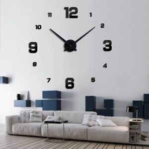 Quartz-Wall-Clock-Watch-Horloge-Murale-Diy-3d-Acrylic-Mirror-sticker-Large-Home