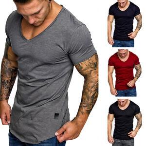 Summer-Men-039-s-Short-Sleeve-T-Shirt-Casual-V-Neck-Basic-Tee-Sports-Fitness-T-Shirt