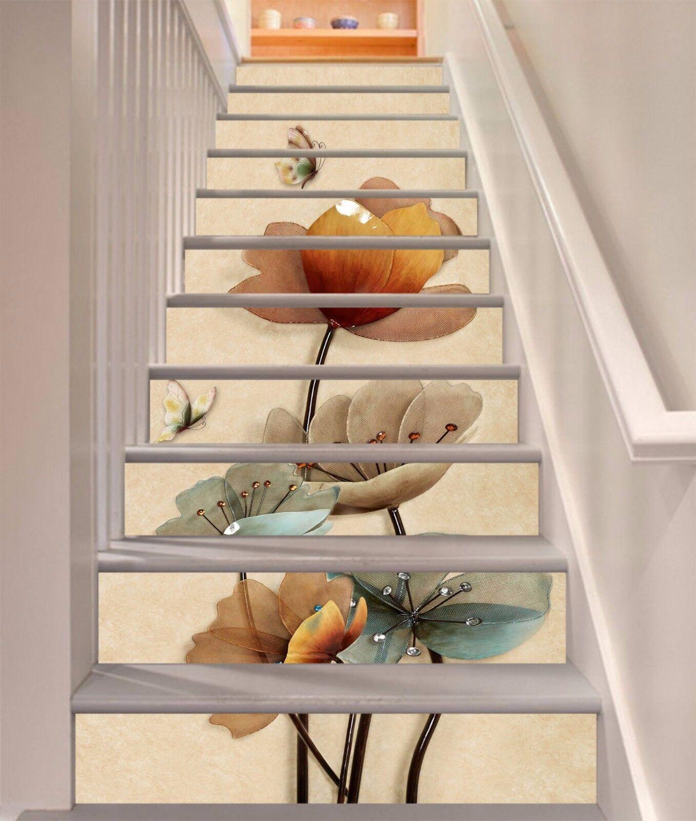 3D Pretty Flowers 7 Stair Risers Decoration Photo Mural Vinyl Decal Wallpaper UK