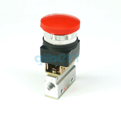 "MOV-03 G1//8/"" 2//3 Way Push Button Red Mushroom Pneumatic Mechanical Valve"