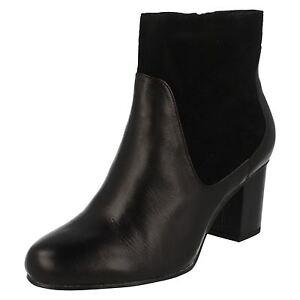 Ladies Clarks Zip Leather Aldwych Smart Black Combi Wood Boots Up Ankle qrxwrUdC
