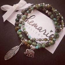 African turquoise feather charm bracelet sack of 3 gemstone bijoux jewellery