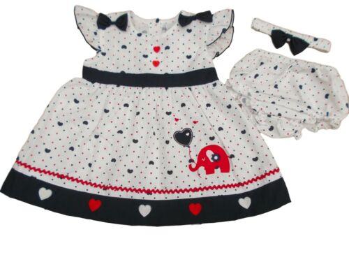 BNWT Baby Mädchen Marineblau Elefant Sommerkleid Outfit Kleidung 9-12 12-18