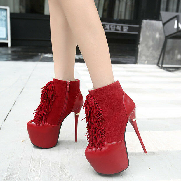 botas bajo Stiletto 16cm Rojo Elegantes Piel Sintético 9511