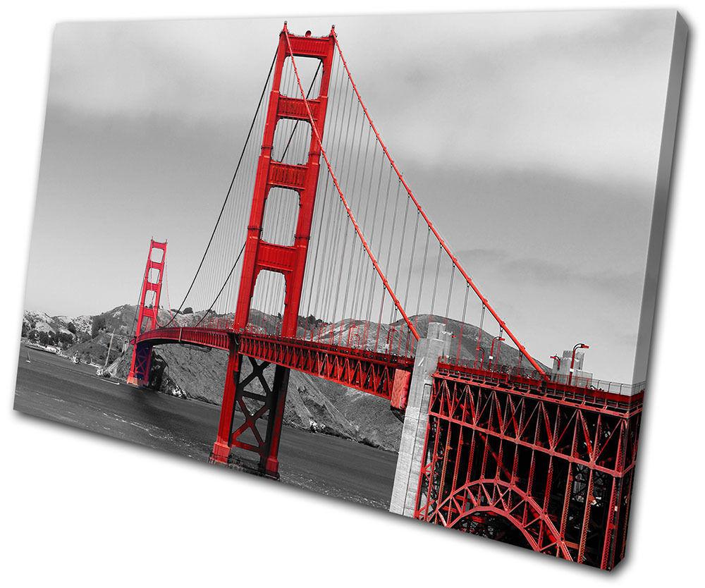 Landmarks oren Gate Bridge SINGLE TOILE murale ART Photo Print