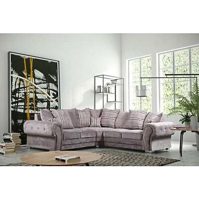 Verona Fabric Corner Sofa Group Large 5 Seater Grey Mink New Suite Couch Settee