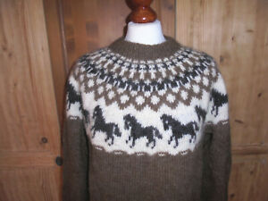 vintage-Islandpullover-islandpulli-Strickpullover-Wolle-Pferde-Motiv-handmade-M