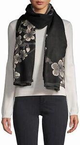 Saachi Women's Scarf Black Combo One Size Reversible Floral Wrap $48 706