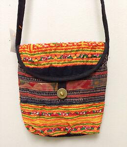 Hmong Hill Tribe Small Emroidered Orange Shoulder Bag