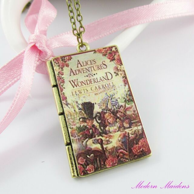 Alice in Wonderland Book Cover Charm Pendant Necklace 62cm