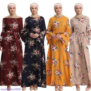 Women Long Sleeve Casual Maxi Dress Muslim Dress for Women Islamic Arabian Robe Kaftan Abaya Long Dress
