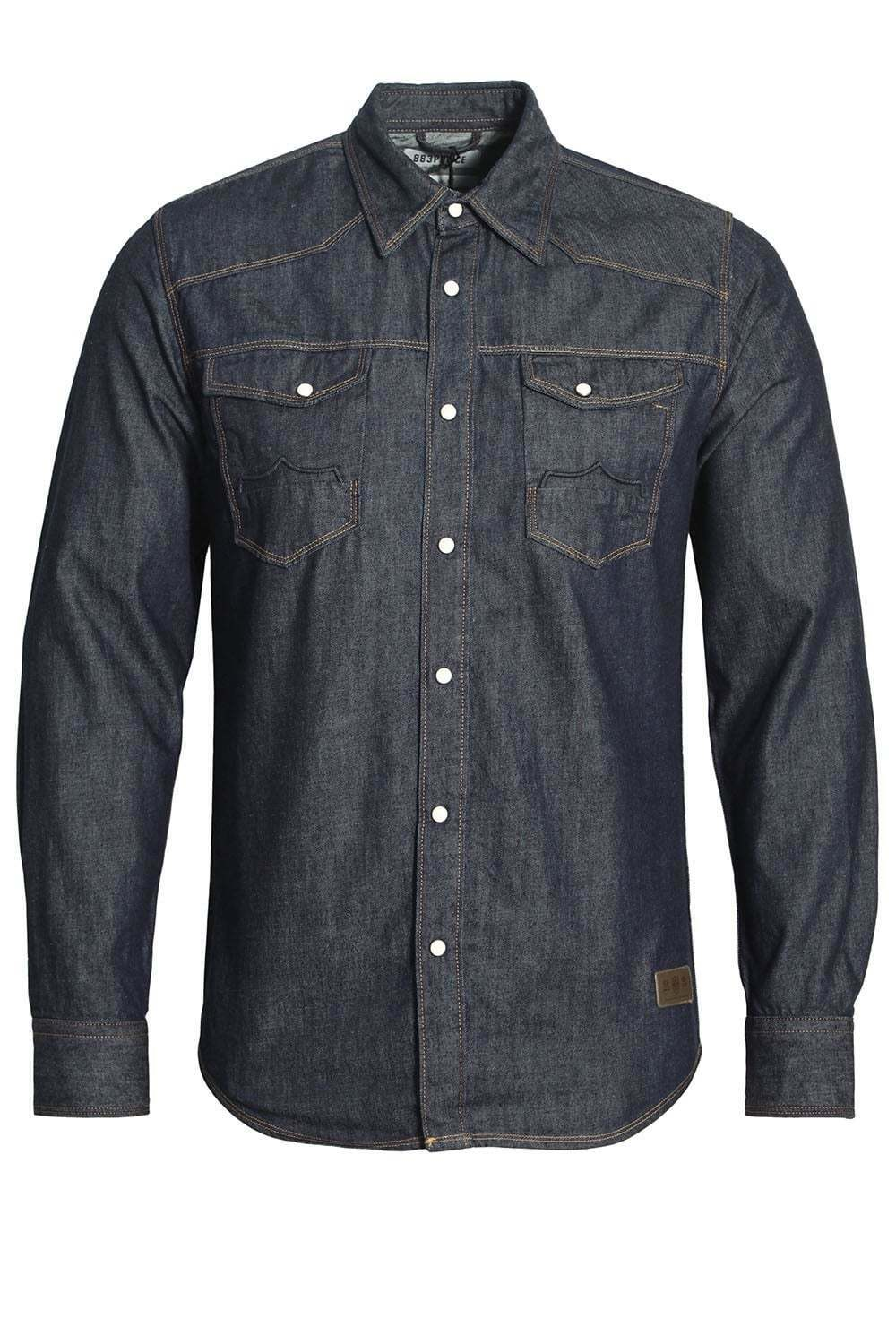 883 POLICE Bronco Long Sleeve Denim Shirt   Dark Wash