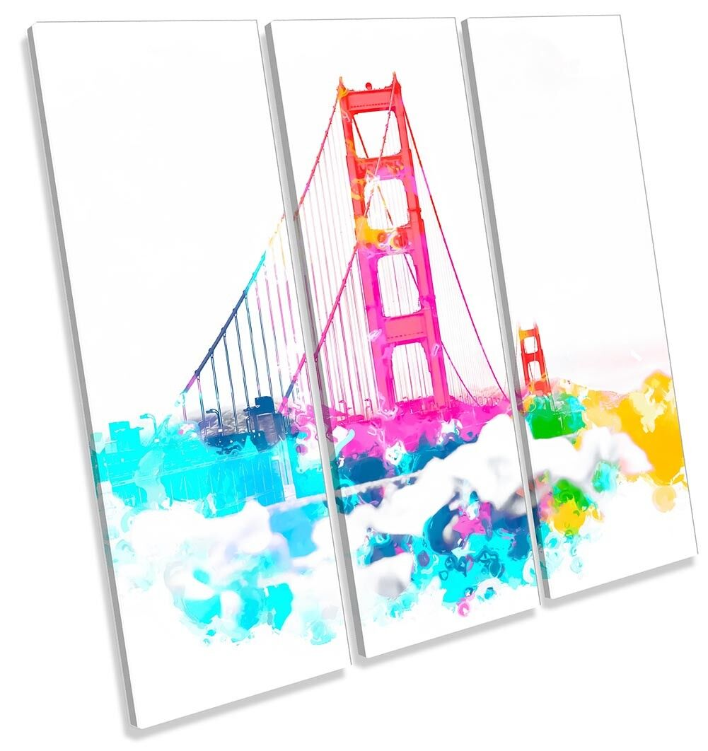 Golden Gate Bridge Modern TREBLE CANVAS WALL ARTWORK Print Art
