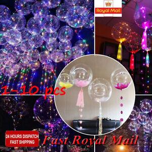 LED Light Bobo Balloon Transparent Wedding Birthday helium Party Decor Lamp £ UK