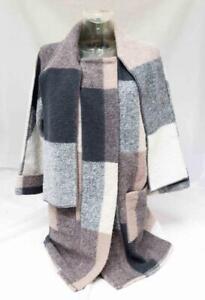 Ladies-Paul-Costelloe-Multi-coloured-Checkered-Wool-Blend-Coat-UK-10-Lot-CT67