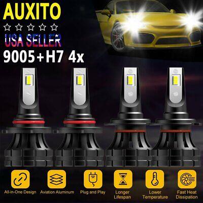 6X Combo 9005 H11 9006 CREE Fanless LED Headlight Kit Hi Low Bulbs 27000LM 6000K