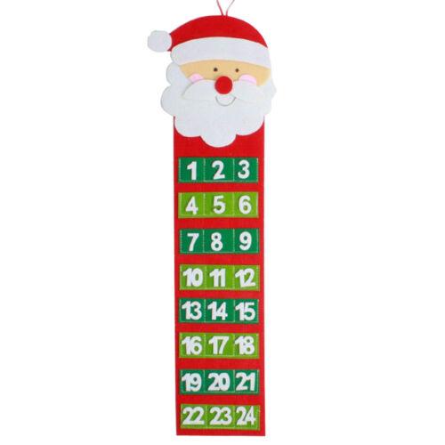 Christmas Santa Claus Wall Calendar Advent Countdown Fabric Calendar With Pocket