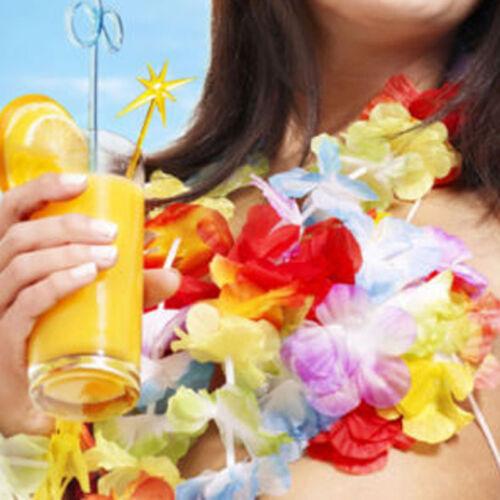 10Hawaiian Hula Flower Leis Wreath Garland Party Hawaii Beach Fun HEN STAG PARTY