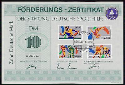 Treu Sporthilfe Zertifikat 1989 Certificate German Olympic Committee Tischtennis Za61 Ausgezeichnet Im Kisseneffekt Sport & Spiel Olympische Spiele