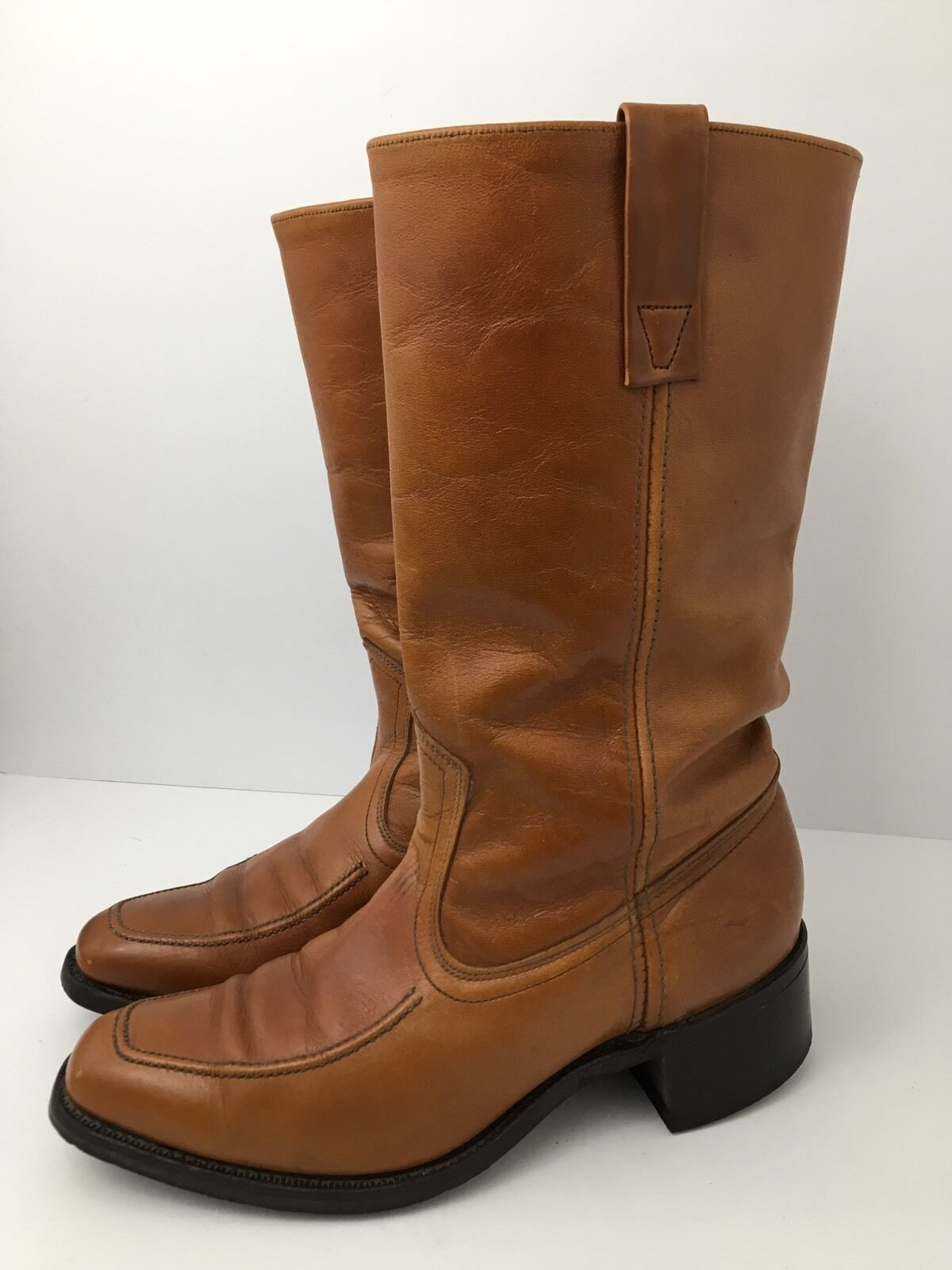 Vintage 70s Mod Dingo Boots Square Toe Brown Leather Hipster Campus Mens 6.5 USA