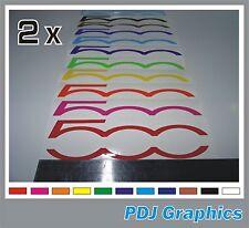 2 x Fiat 500 Logo Vinyl Decals / Stickers Side Skirt / Boot / Bonnet 500c Abarth