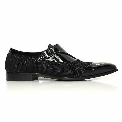 Mezlan Havre Mens Beaded Suede/Patent Leather Buckle Cap Toe Slip On Shoes Black