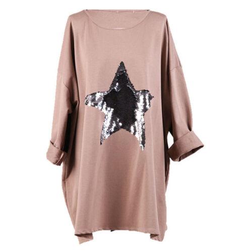 Italian Ladies Sequin Star Top Oversized Women/'s Tunic Lgenlook Dress Top Plus