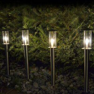 Details Zu Set 4x Led Wegeleuchte Edelstahl Mit Erdspieß Wegbeleuchtung Außen Strom 230v