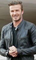 David Beckham Leather Jacket Biker Slim Fit Mens Black Leather Jacket