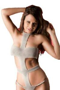 Chain mail Aluminium Silver Panty medieval Antique Style New Look