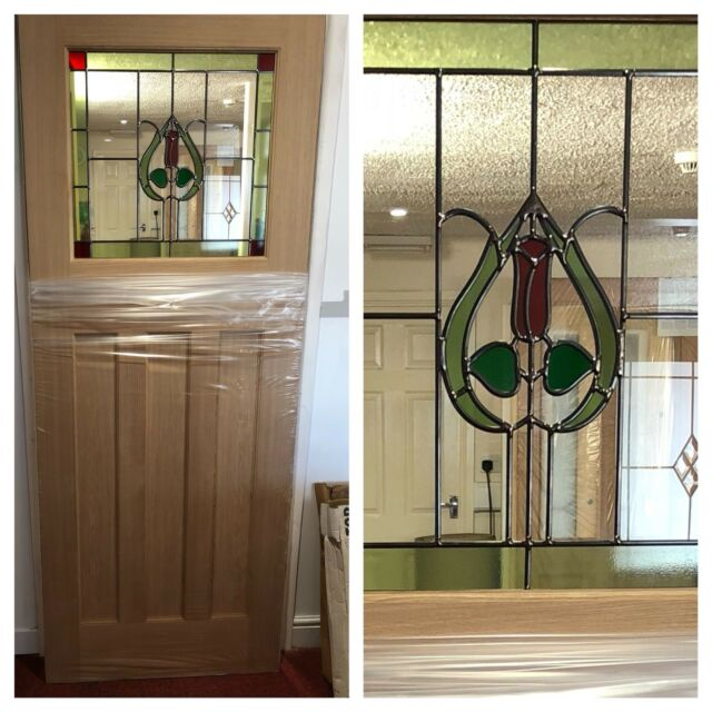 1930s Style Stained Glass Internal Door Oak Wood Ebay