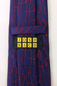 Men-039-s-Josh-Bach-silk-tie-Abstract-Guitar-Navy-Red-Men-039-s-Necktie-Music