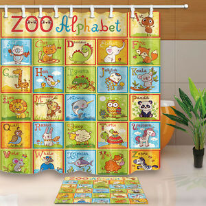 Image Is Loading ABC Zoo Alphabet Design Waterproof Polyester Shower Curtain