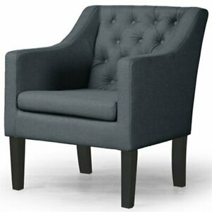 Groovy Details About Baxton Studio Brittany Tufted Accent Chair In Gray And Black Ibusinesslaw Wood Chair Design Ideas Ibusinesslaworg
