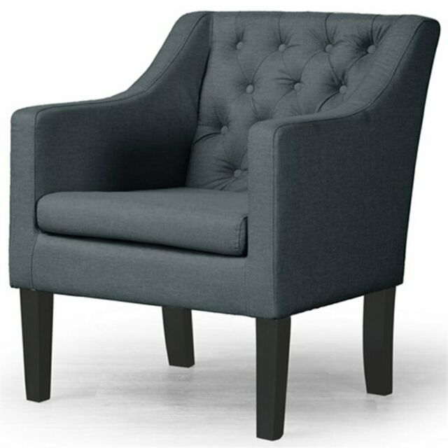 Admirable Baxton Studio Brittany Tufted Accent Chair In Gray And Black Pabps2019 Chair Design Images Pabps2019Com