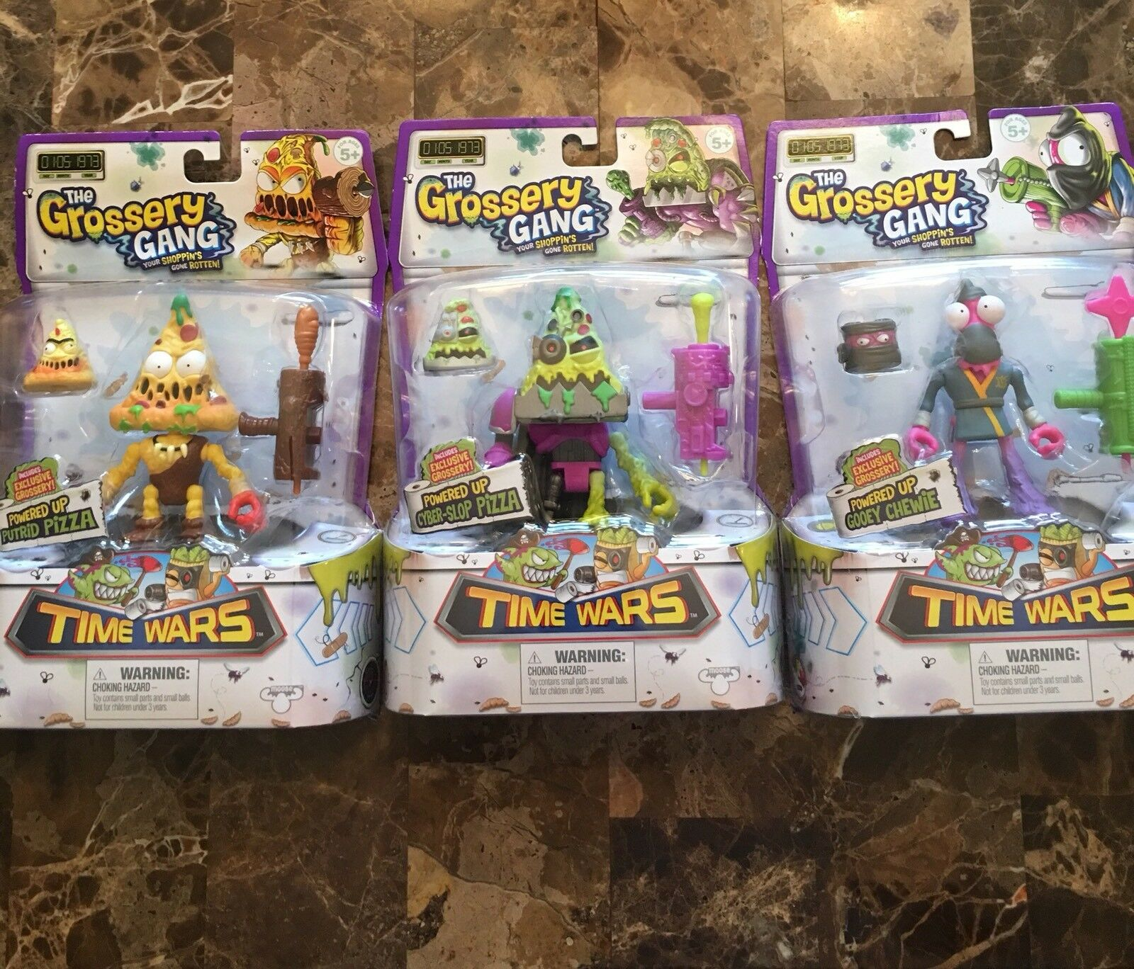 """Grossery Gang Series 5 """"Time """"Time """"Time Wars"""" Set Wave 1 Powered Up Action Figures Lot 2cfbb6"""
