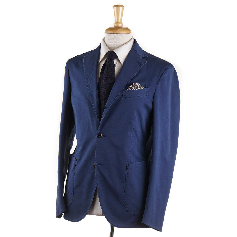 NWT  BOGLIOLI Medium bluee Stretch Twill Cotton Suit 40 R (Eu 50)