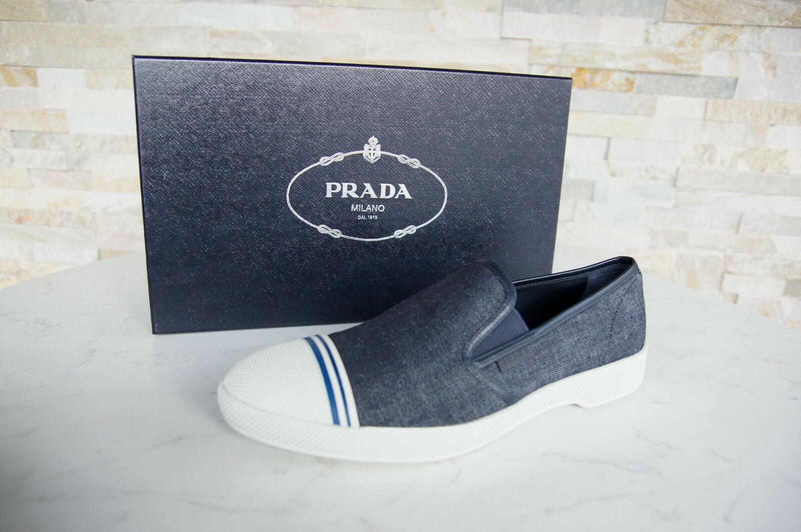 Prada 41,5 7,5 Slippers Loafers Moccasins Panties shoes Denim New Previously